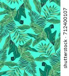 seamless tropical leaves... | Shutterstock .eps vector #712400107