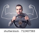 young man holding black... | Shutterstock . vector #712407583