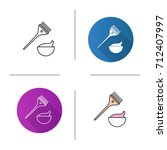 hair dyeing kit icon. flat... | Shutterstock .eps vector #712407997