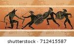 ancient greece banner. black... | Shutterstock .eps vector #712415587