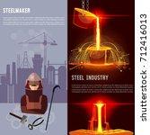 steel industry banner.... | Shutterstock .eps vector #712416013