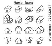 home  house icon set in thin... | Shutterstock .eps vector #712422637