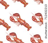 seamless texture of seafood.... | Shutterstock . vector #712432213