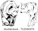 set of vector drawings on the... | Shutterstock .eps vector #712434373