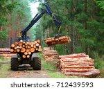 lumberjack with modern...   Shutterstock . vector #712439593