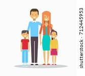 family happy smiling parents... | Shutterstock .eps vector #712445953