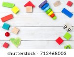 wooden cubes and a pyramid on a ... | Shutterstock . vector #712468003