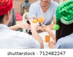 group of friends enjoying party ... | Shutterstock . vector #712482247