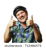 funny retro man with mustache... | Shutterstock . vector #712486573