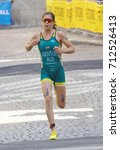 Small photo of STOCKHOLM - AUG 26, 2017: Front view of running female triathlete Ashley Gentle (AUS) in the Women's ITU World Triathlon series event August 26, 2017 in Stockholm, Sweden