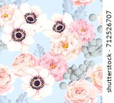 seamless pattern with eustoma... | Shutterstock .eps vector #712526707