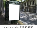 blank billboard on city bus... | Shutterstock . vector #712535953