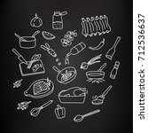 cooking process and techniques... | Shutterstock .eps vector #712536637