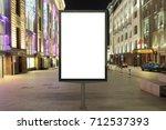 blank street billboard at night ... | Shutterstock . vector #712537393