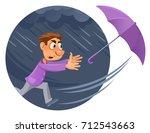 bad weather. rain and wind.... | Shutterstock .eps vector #712543663