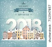 winter urban landscape. city... | Shutterstock .eps vector #712547857