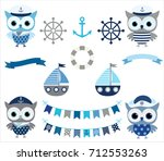 cute vector nautical set with... | Shutterstock .eps vector #712553263