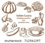 chickpea zucchini and pumpkin...   Shutterstock .eps vector #712561297