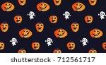 halloween seamless pattern with ... | Shutterstock .eps vector #712561717
