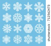 flat design line snowflakes... | Shutterstock .eps vector #712562473