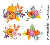set of hand drawn bouquets made ... | Shutterstock .eps vector #712582123