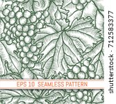 hand drawn grape. leaves and... | Shutterstock .eps vector #712583377