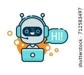 cute smiling robot  chat bot... | Shutterstock . vector #712583497