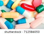 medicine green and yellow pills ... | Shutterstock . vector #712586053