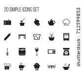 set of 20 editable cooking... | Shutterstock .eps vector #712599853