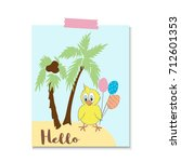 cute little chicken with a... | Shutterstock .eps vector #712601353