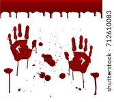 set of realistic bloody prints. ... | Shutterstock .eps vector #712610083