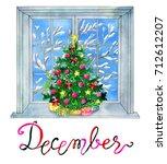 december month. christmas tree... | Shutterstock . vector #712612207