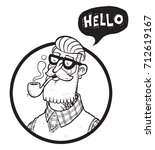 hand drawing hipster who says... | Shutterstock .eps vector #712619167