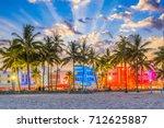 miami beach  florida usa...   Shutterstock . vector #712625887