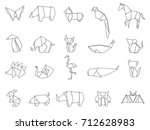 animal origami vector | Shutterstock .eps vector #712628983