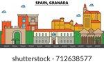 spain  granada. city skyline ... | Shutterstock .eps vector #712638577
