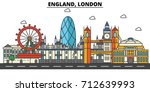 england  london. city skyline ... | Shutterstock .eps vector #712639993