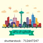 vector illustration of seattle... | Shutterstock .eps vector #712647247