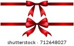 two styles of red ribbon bow... | Shutterstock .eps vector #712648027