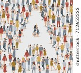 crowd of people in the shape of ... | Shutterstock .eps vector #712652233