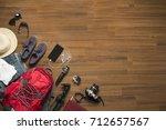 top view of traveler's... | Shutterstock . vector #712657567