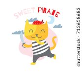 cute animal series. cute pirate ... | Shutterstock .eps vector #712658683
