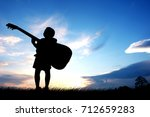 silhouette a little boy... | Shutterstock . vector #712659283