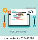 web development flat design.... | Shutterstock .eps vector #712695787
