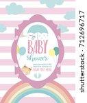 cute baby shower invitation... | Shutterstock .eps vector #712696717