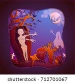 happy halloween magic... | Shutterstock .eps vector #712701067