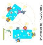 cartoon teamwork brainstorming... | Shutterstock .eps vector #712704853