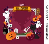 halloween icon pumpkin and... | Shutterstock .eps vector #712706197