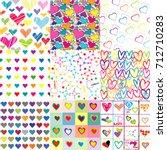 set of nine colorful patterns... | Shutterstock .eps vector #712710283
