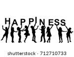 kids silhouettes holding... | Shutterstock .eps vector #712710733
